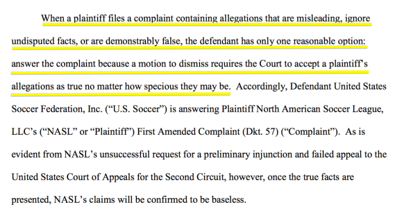nasl v. ussf/mls: dramatic change in tactics as defendants file