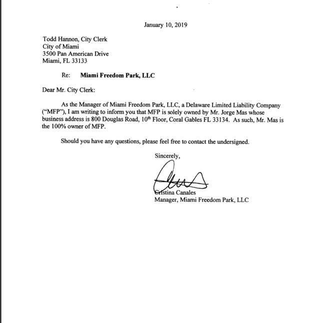 Jorge Mas owns MiamiFreedomPark LLC